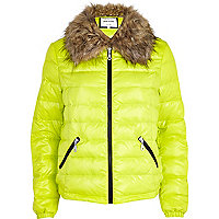 Lime down feather padded jacket