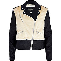 Cream faux fur body biker jacket