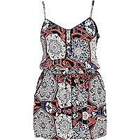 Black paisley print cami playsuit