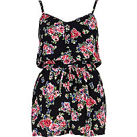 Black floral cami playsuit