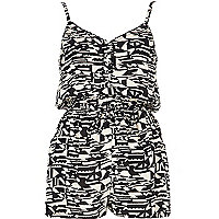 Black aztec print cami playsuit