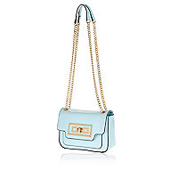 Blue mini chain handle cross body bag