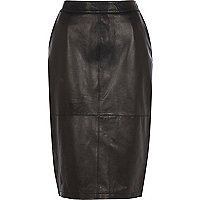 Black leather high waisted pencil skirt