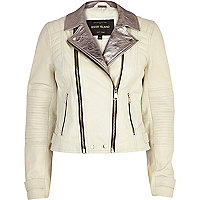White metallic lapel leather biker jacket