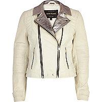 White metallic lapel leather biker jacket
