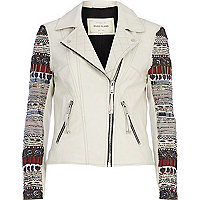 White leather embellished sleeve biker jacket