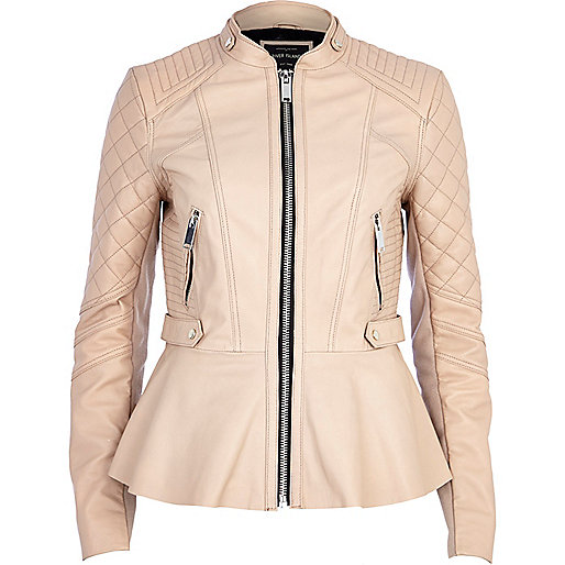 Light pink leather peplum jacket