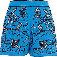 Blue embellished shorts