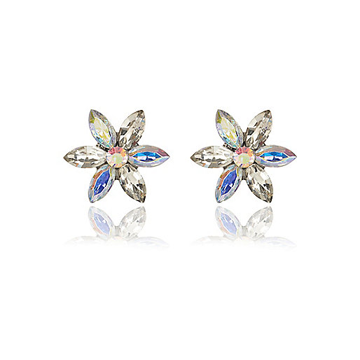 Iridescent gem stone 3D flower stud earrings