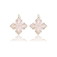 Light pink filigree flower drop earrings