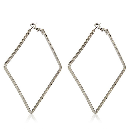 Silver tone square hoop earrings