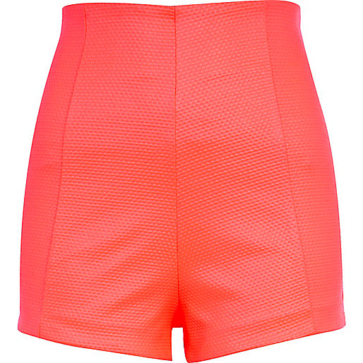 Coral waffle textured high waisted shorts