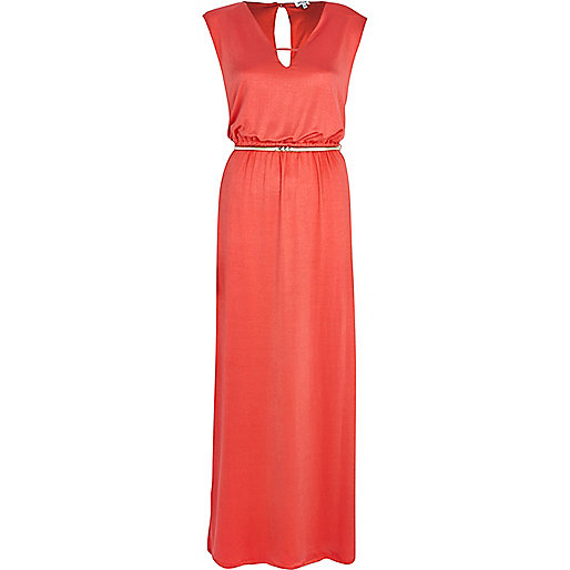 Coral V neck sleeveless maxi dress