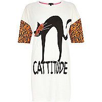White cattitude sleep tee