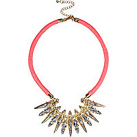 Pink cord statement necklace