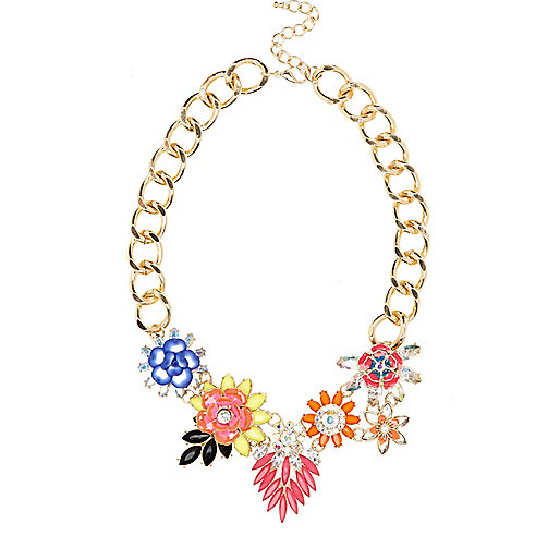 Gold tone flower cluster statement necklace
