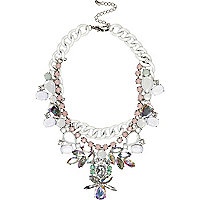White clustered gem stone curb chain necklace