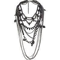 Black embellished draped chain body harness