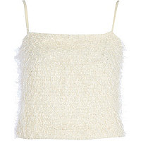 Cream fluffy cami top