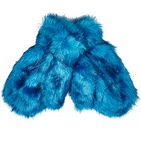 Blue faux fur mittens