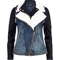 Black denim 2 in 1 biker jacket