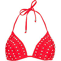 Red 3D bow diamante bikini top