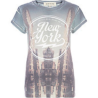 Blue NYC sublimation print t-shirt