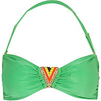 Green metal trim bandeau bikini top