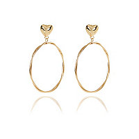 Gold tone heart stud hoop earrings