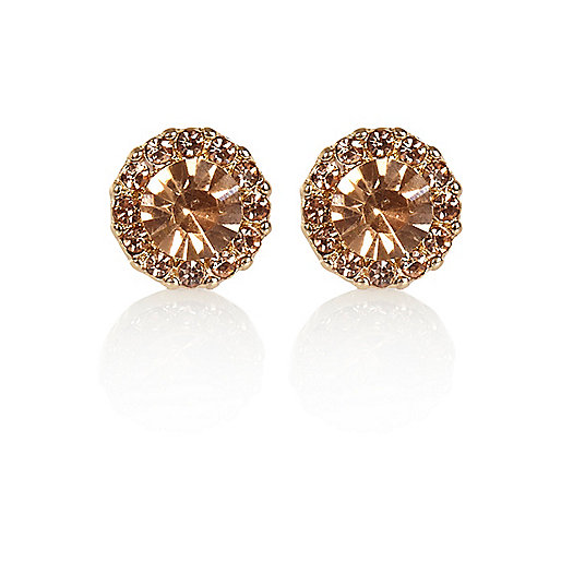 Light pink gem stone stud earrings