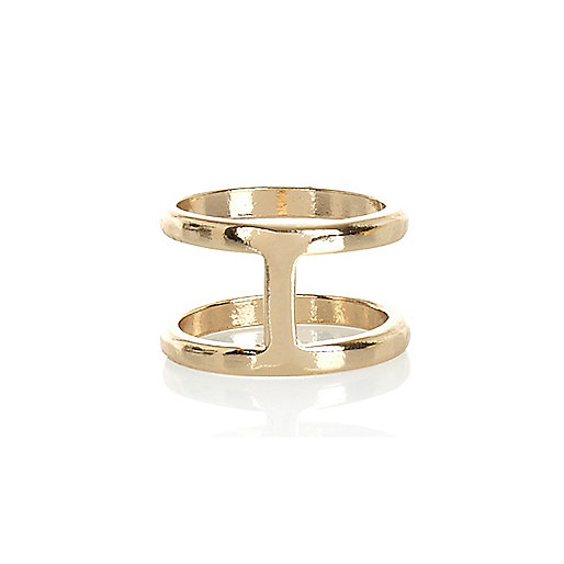 Gold tone double bar finger top ring