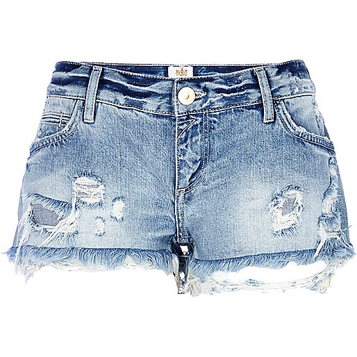 Light wash ripped denim shorts