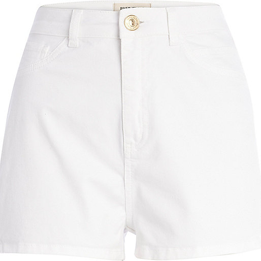 White high waisted tube shorts