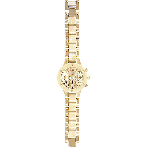 Gold tone screw detail bracelet watch