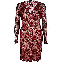 Dark red lace plunge bodycon dress