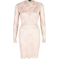 Light pink lace plunge bodycon dress