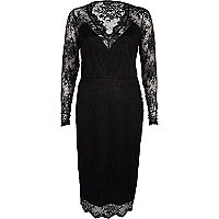Black lace plunge midi dress