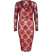 Red lace plunge midi dress