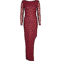 Red lace sequin maxi dress