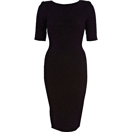 Black lurex half sleeve column dress