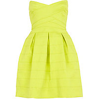 Lime rib box pleat prom dress