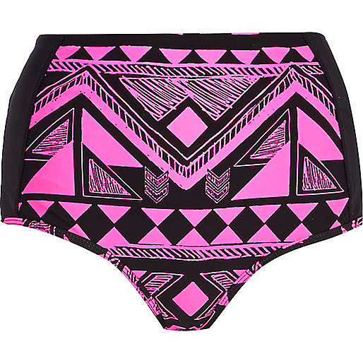 Pink aztec print high waisted bikini bottoms