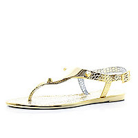 Gold metallic croc jelly sandals