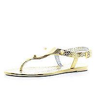 Gold metallic croc jelly sandals