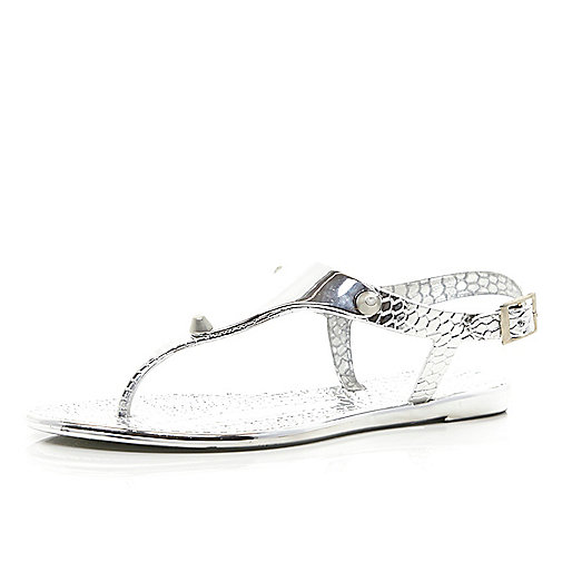 Silver metallic croc jelly sandals