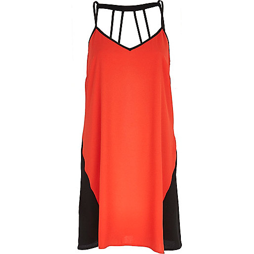 Orange colour block multi strap slip dress