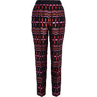 Pink diamond jacquard smart trousers