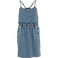Light wash denim cami dress