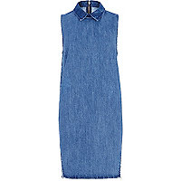 Mid wash denim sleeveless shift dress