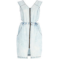 Light wash cut out denim dress